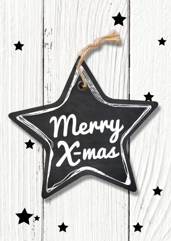 Zakelijke kerstkaarten - Kerstkaart staand grote ster - LO