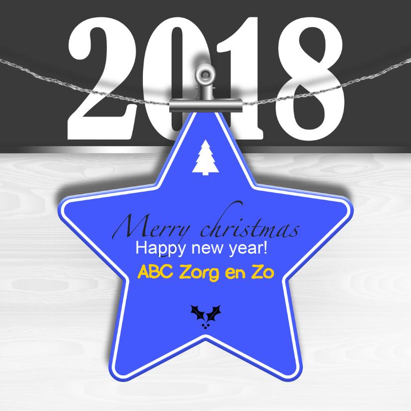 Zakelijke kerstkaarten - Kerstkaart ster blauw 2018 RB
