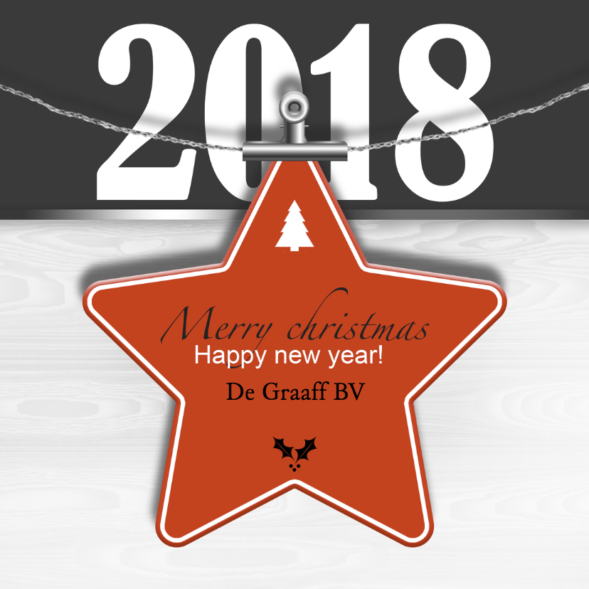Zakelijke kerstkaarten - Kerstkaart ster rood 2018 RB