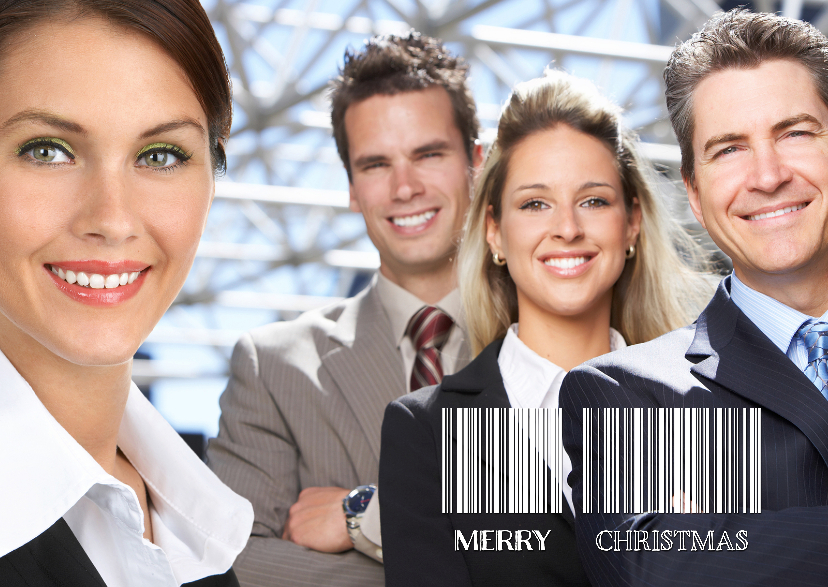 Zakelijke kerstkaarten - Kerstkaart streepjescode foto - OT