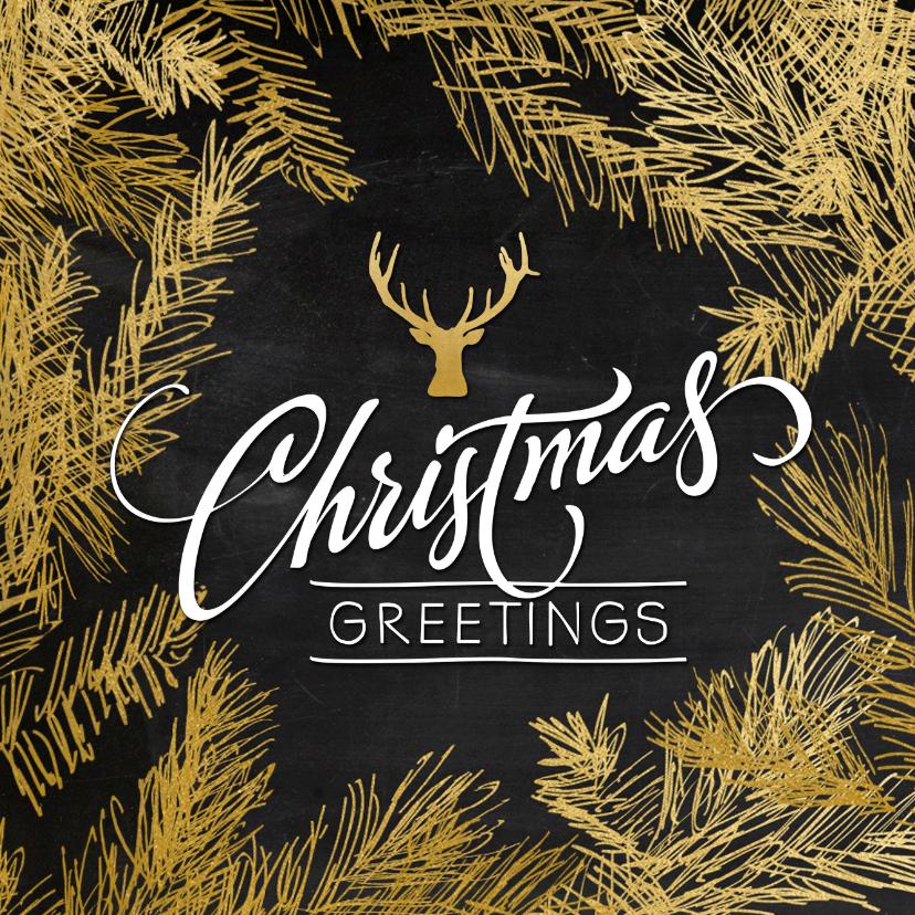 Zakelijke kerstkaarten - Kerstkaart trendy krijtbord hulst en hert goud