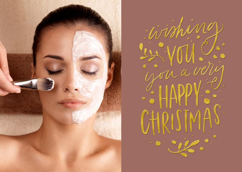 Zakelijke kerstkaarten - Kerstkaart trendy tekst goud Happy Christmas