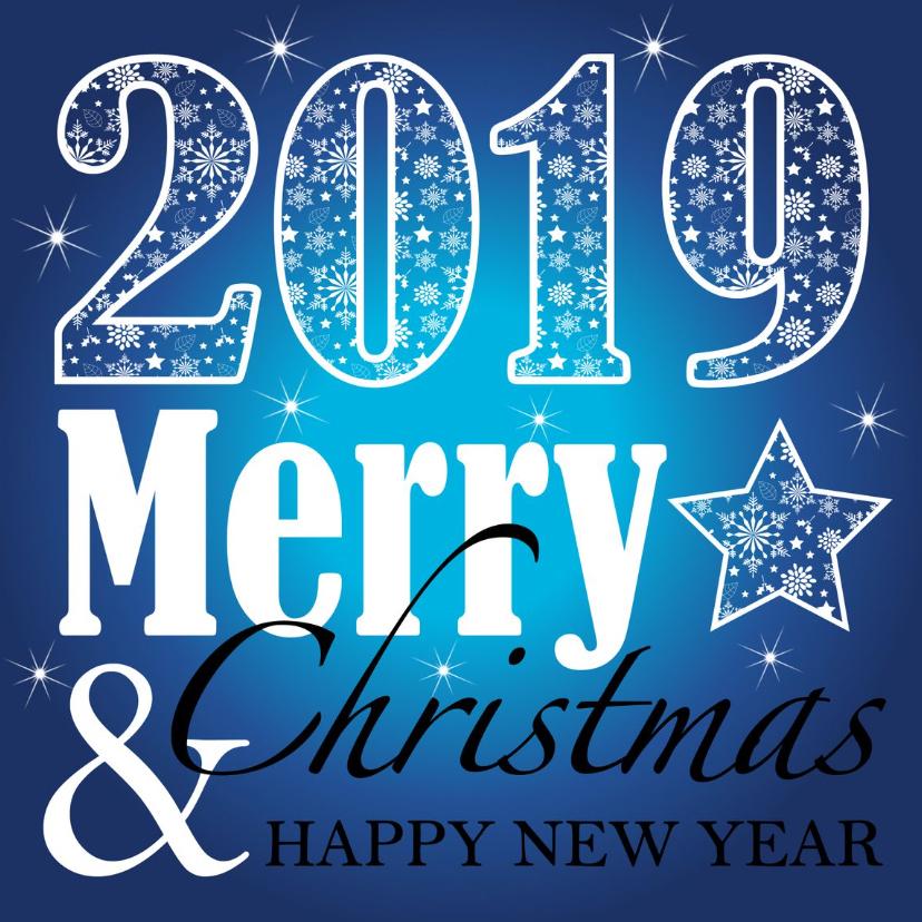 Zakelijke kerstkaarten - Kerstkaart typografie blauw 2019
