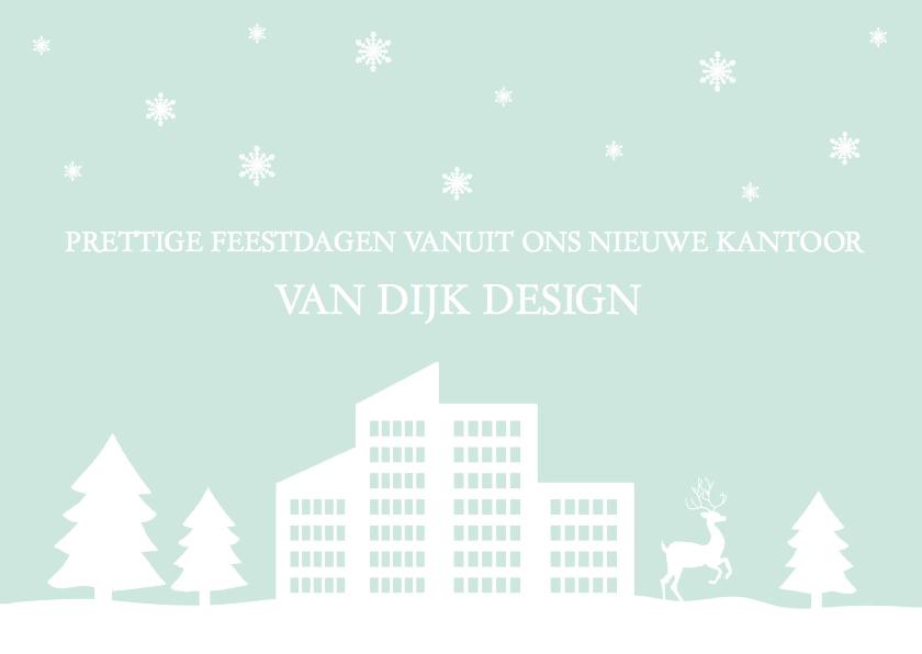 Zakelijke kerstkaarten - Kerstkaart verhuiskaart zakelijk sneeuw gebouw