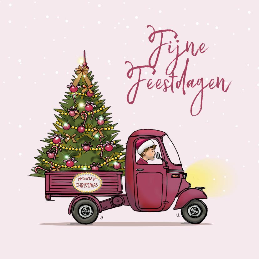 Zakelijke kerstkaarten - Kerstkaart Vespa Ape hippe kleur