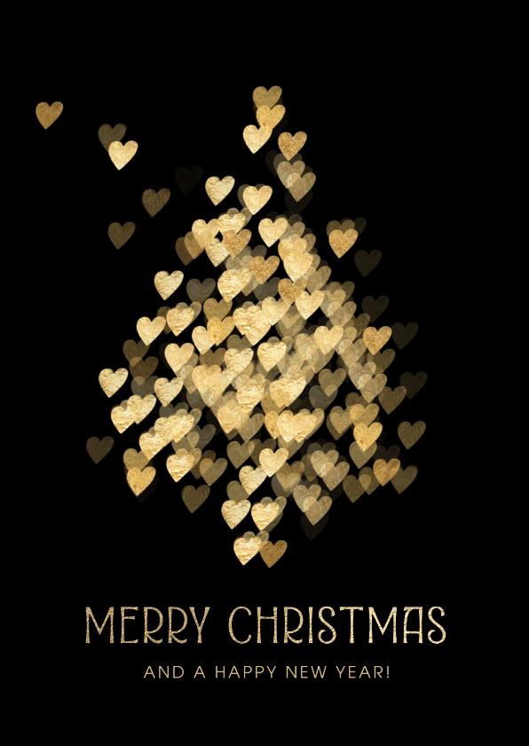 Zakelijke kerstkaarten - Kerstkaart zakelijk kerstboom hartjes