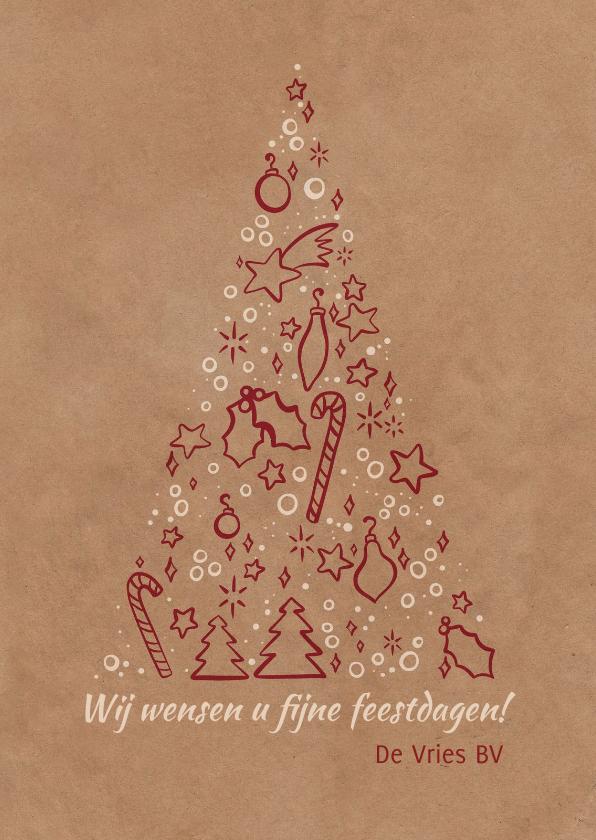 Zakelijke kerstkaarten - Kerstkaart zakelijk kerstboom met symbooltjes