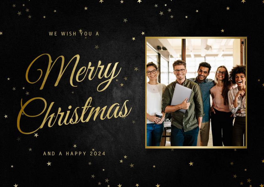 Zakelijke kerstkaarten - Kerstkaart zakelijk klassiek Merry Christmas met foto