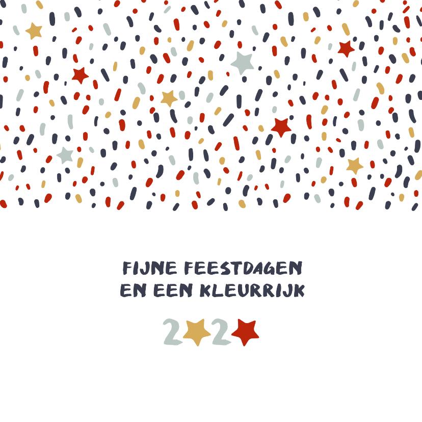 Zakelijke kerstkaarten - Kerstkaart zakelijk met kleurrijke stippen en sterren
