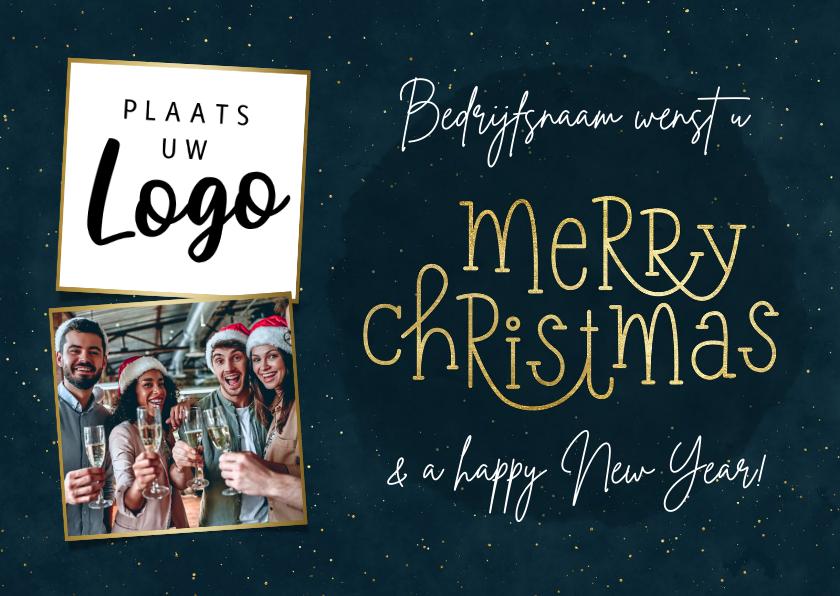 Zakelijke kerstkaarten - Kerstkaart zakelijk met typografie en foto's