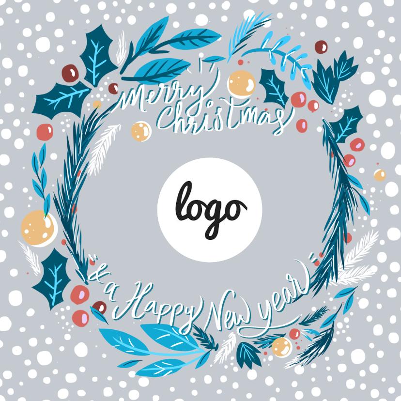 Zakelijke kerstkaarten - Kerstkrans met logo