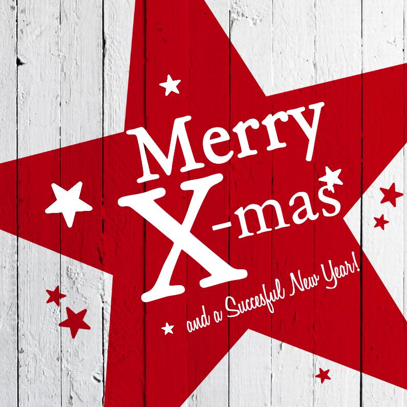 Zakelijke kerstkaarten - Kerstster-rood-hout