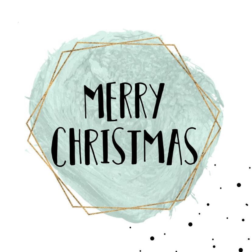 Zakelijke kerstkaarten - Merry Christmas Waterverf goud kader