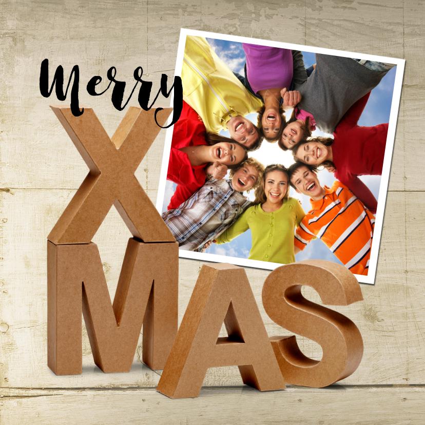 Zakelijke kerstkaarten - Merry X-Mas eigen foto op hout