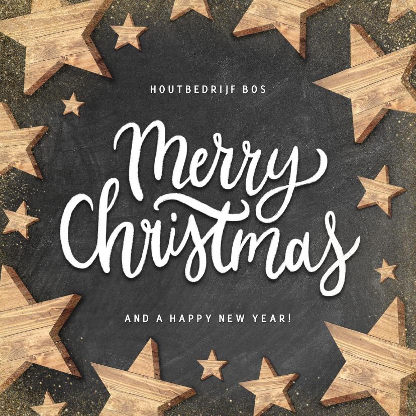 Zakelijke kerstkaarten - Moderne zakelijke kerstkaart houten sterren Merry Christmas