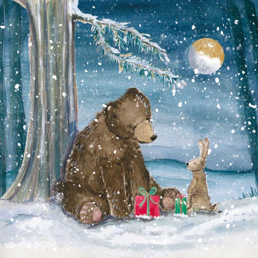 Zakelijke kerstkaarten - Mooie kerstkaart met beer en konijn in de sneeuw