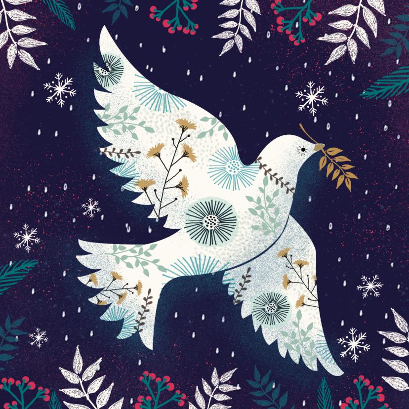 Zakelijke kerstkaarten - Mooie moderne kaart met vredesduif