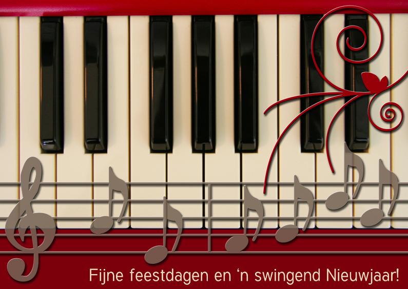 Zakelijke kerstkaarten - Piano Kerst rood