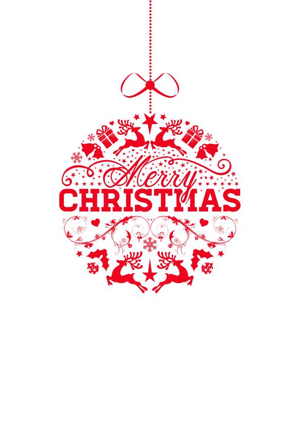 Zakelijke kerstkaarten - Rode kerstbal met tekst - isf