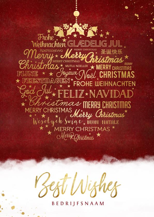 Zakelijke kerstkaarten - Stijlvolle internationale meertalige kerstbal kerstkaart