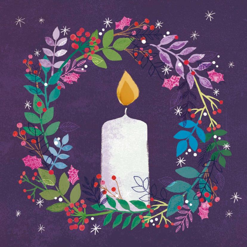 Zakelijke kerstkaarten - Stijlvolle kerstkaart met brandende kaars