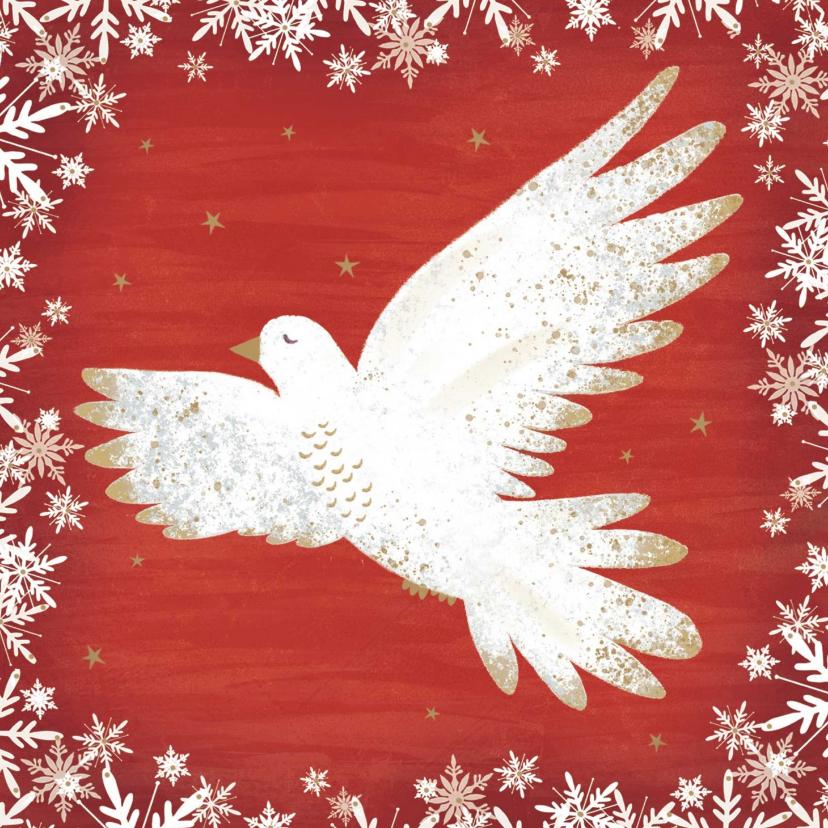 Zakelijke kerstkaarten - Stijlvolle kerstkaart met een vredesduif, rode achtergrond.