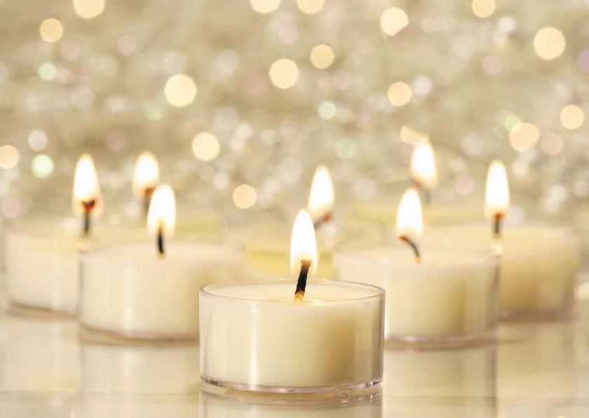 Zakelijke kerstkaarten - Stijlvolle kerstkaart met foto van witte kaarsjes