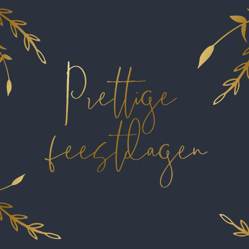 Zakelijke kerstkaarten - Stijlvolle kerstkaart met gouden takjes en tekst