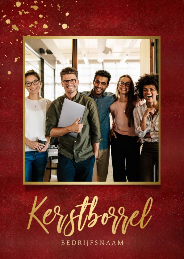 Zakelijke kerstkaarten - Stijlvolle rode uitnodiging voor een zakelijke kerstborrel