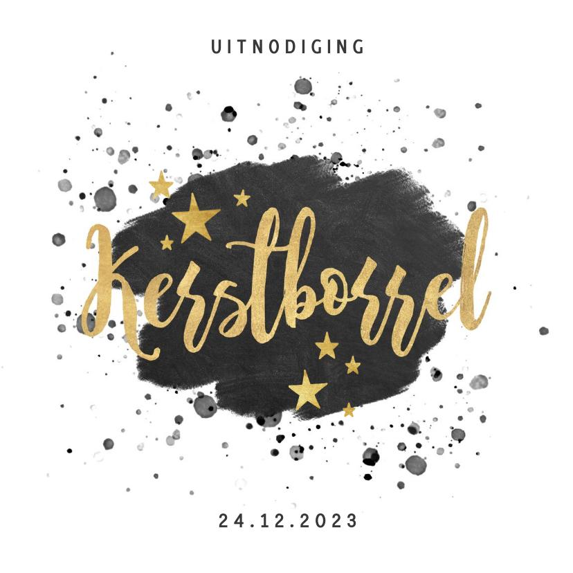 Zakelijke kerstkaarten - Stijlvolle uitnodiging kerstborrel verf, spetters en tekst