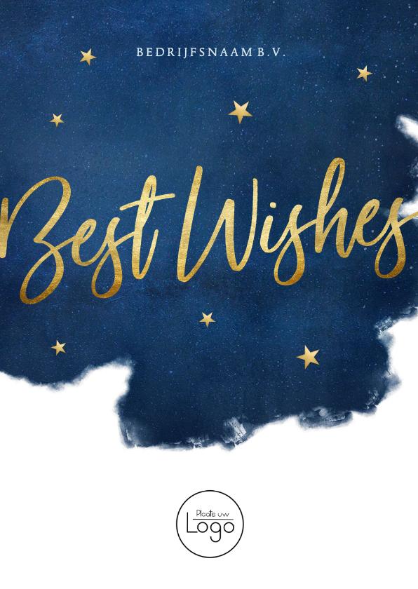 Zakelijke kerstkaarten - Stijlvolle zakelijke kerstkaart Best Wishes - blauw met goud