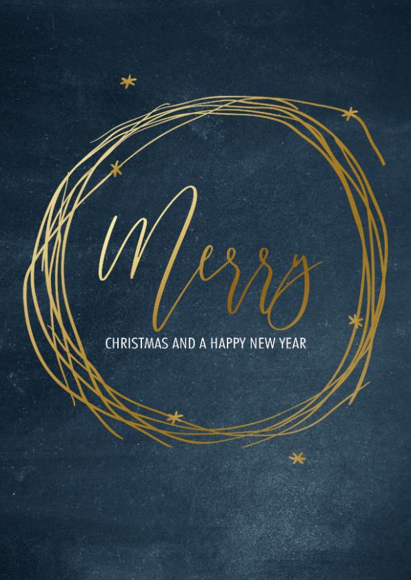 Zakelijke kerstkaarten - Stijlvolle zakelijke kerstkaart goud Merry Christmas