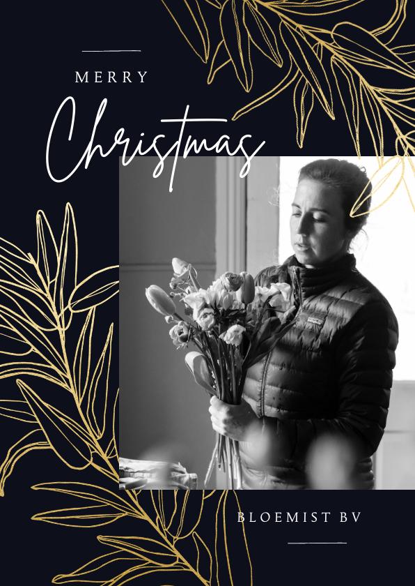 Zakelijke kerstkaarten - Stijlvolle zakelijke kerstkaart gouden takken en foto