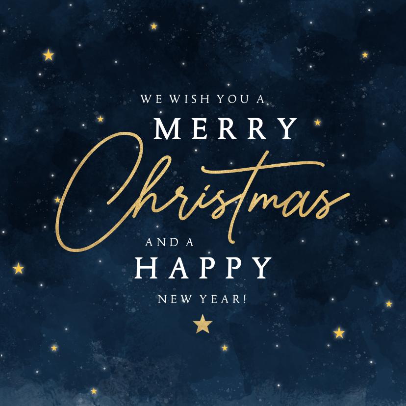 Zakelijke kerstkaarten - Stijlvolle zakelijke kerstkaart Merry Christmas sterren