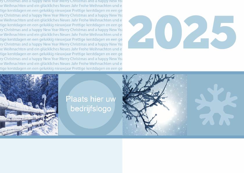 Zakelijke kerstkaarten - Strakke blauwe kerstkaart- Remco