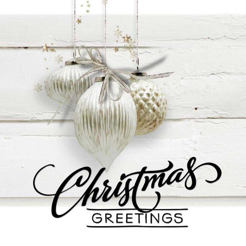 Zakelijke kerstkaarten - Trendy kerstkaart houtprint wit 2020