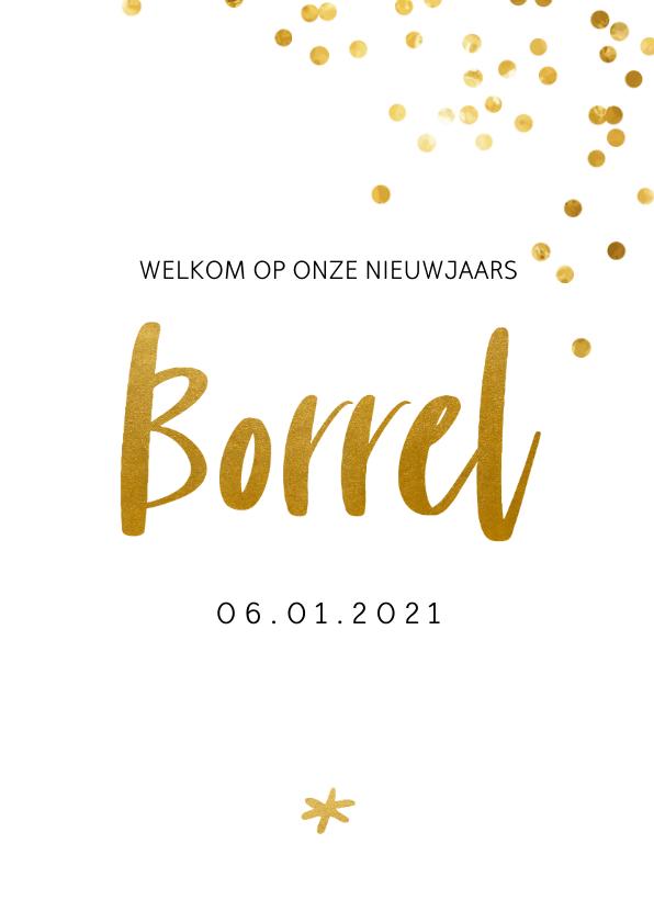 Zakelijke kerstkaarten - Uitnodiging borrel met gouden confetti