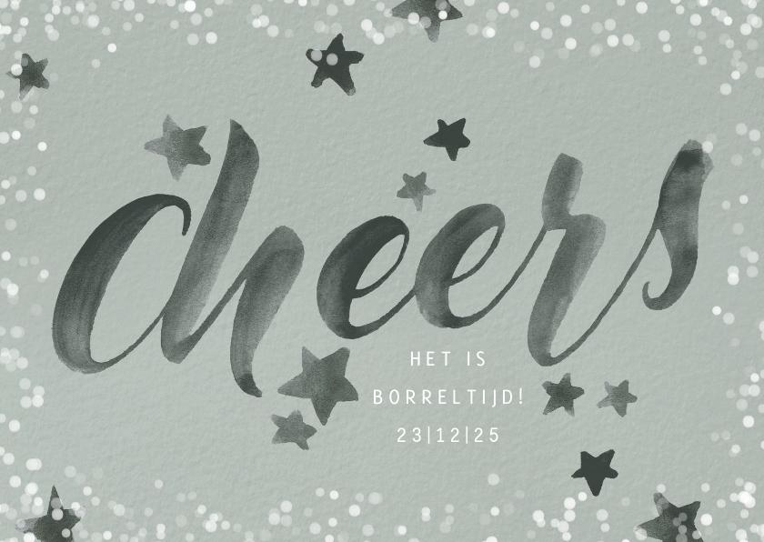 Zakelijke kerstkaarten - Uitnodiging kerstborrel medewerkers 'Cheers!