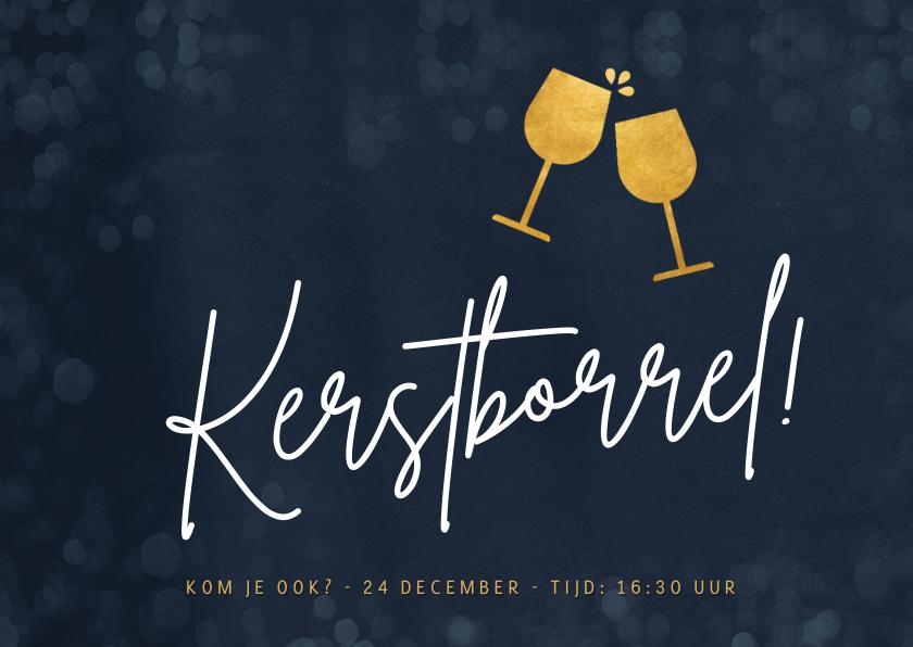 Zakelijke kerstkaarten - Uitnodiging online kerstborrel met proostende wijnglazen