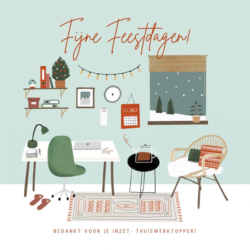 Zakelijke kerstkaarten - Winterse zakelijke kerstkaart met thuiswerk illustratie