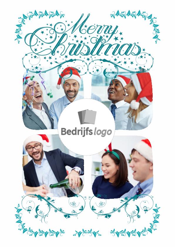 Zakelijke kerstkaarten - Witte collagekaart 4 foto's - BK