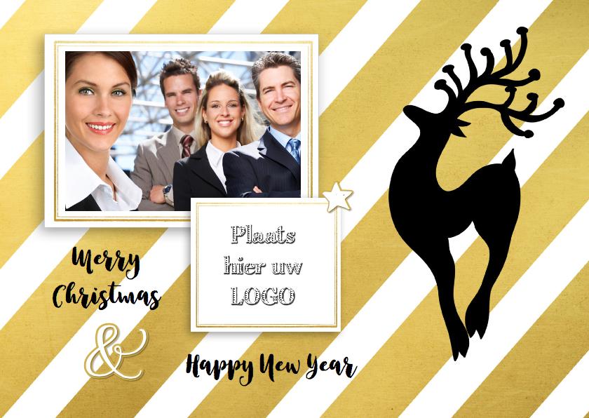 Zakelijke kerstkaarten - Zakelijk kerst foto logo goud - SG