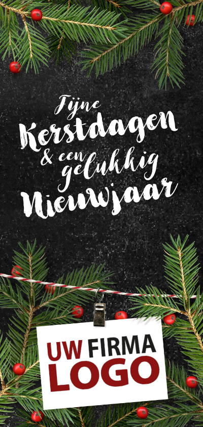 Zakelijke kerstkaarten - Zakelijk kersttakken logo rood