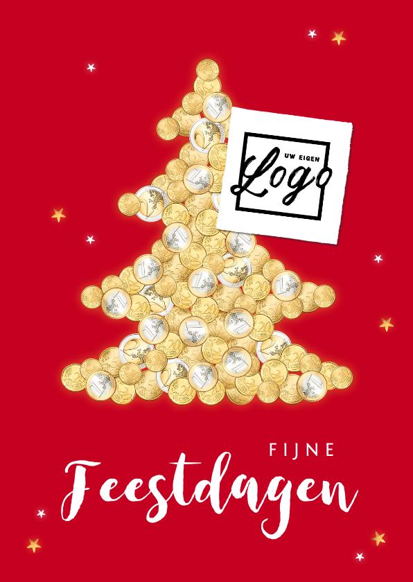 Zakelijke kerstkaarten - Zakelijke financiële kerstkaart geld kerstboom sterren