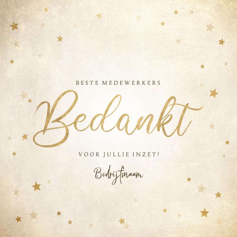 Zakelijke kerstkaarten - Zakelijke kerst bedankkaart met gouden sterren 'Bedankt'