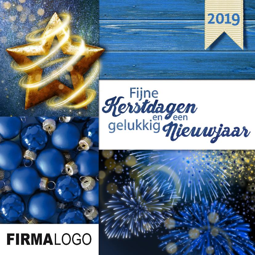 Zakelijke kerstkaarten - zakelijke kerstkaart  2018 blauw vuurwerk
