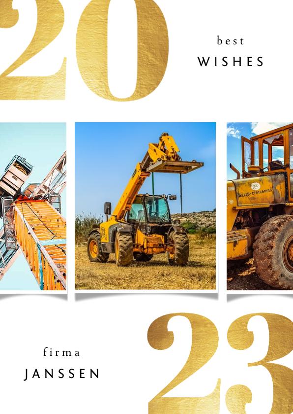 Zakelijke kerstkaarten - Zakelijke kerstkaart 2022 best wishes goudlook met 3 foto's