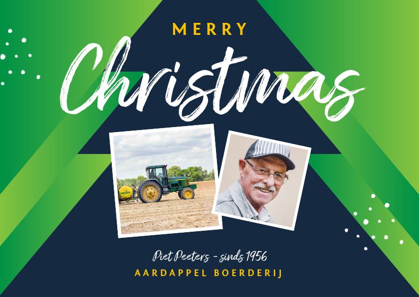 Zakelijke kerstkaarten - Zakelijke kerstkaart agrarisch boer landbouw kerstbomen