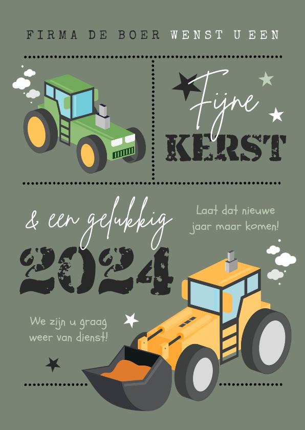 Zakelijke kerstkaarten - Zakelijke kerstkaart agrarisch tractor graafmachine