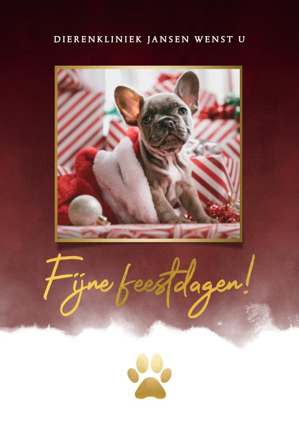 Zakelijke kerstkaarten - Zakelijke kerstkaart dieren branche foto, waterverf & pootje